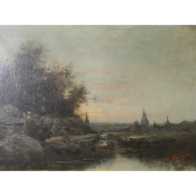 Peintures Tableau Couché De Soleil Signé J Bain 91 Moinat Sa