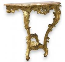 Console Louis XV en bois sculpté plateau marbre