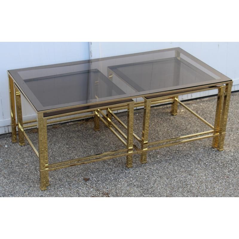 Table basse gigogne en laiton poli et verre sur moinat sa antiquit s d coration - Table basse gigogne verre ...