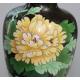 Vase cloisonné fond noir et fleur jaune