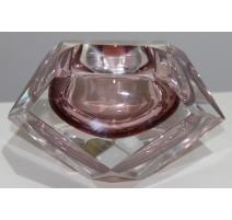 Cenicero de cristal de Murano rosa de V. NASON