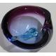 Cendrier en verre de Murano rose avec mortier bleu
