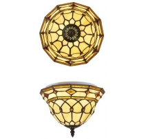 Ceiling lighting Tiffany style, geometric shapes