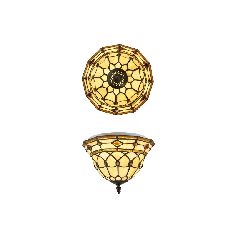 Plafonnier style Tiffany, formes géométriques