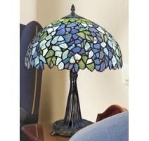 Lampe style Tiffany, décor fleurs bleues
