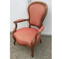 Fauteuil voltaire Louis-Philippe, tissus rouge
