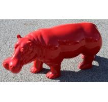 Hippopotame en résine rouge