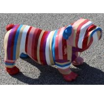Bulldog anglais en résine peinte rayée