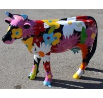 """Vache en résine décor """"Fleurs"""" FLOWERPOWER"""
