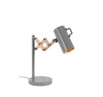 """Lampe de table """"FLEX"""" en métal gris et bois"""
