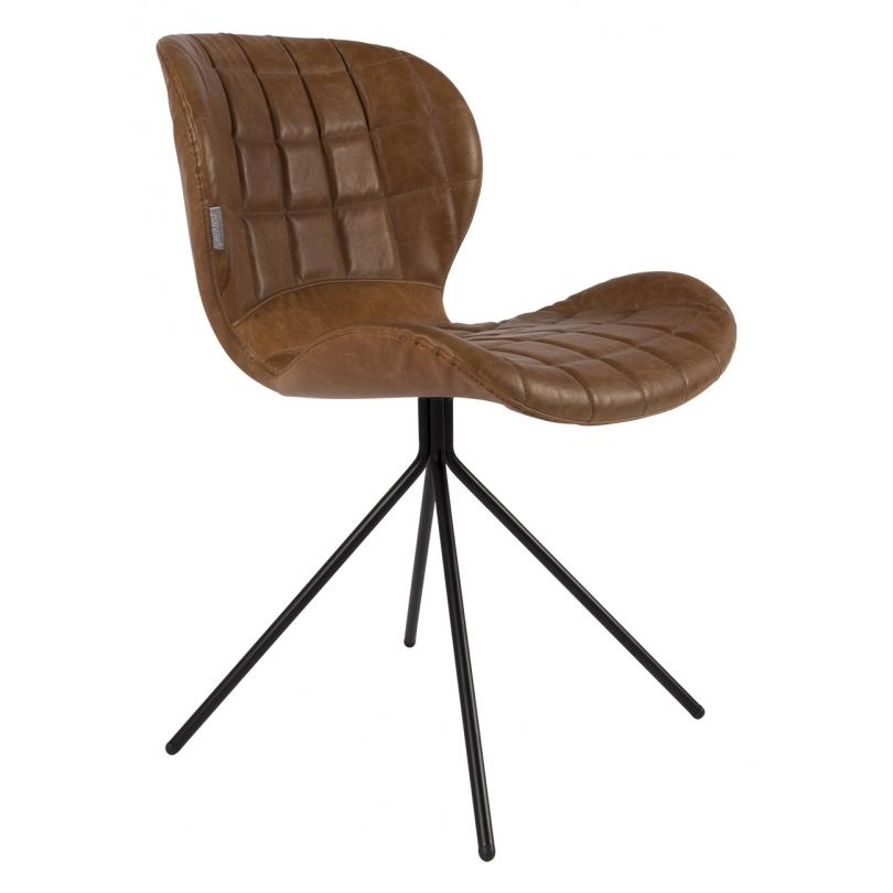 chaise omg ll en cuir brun sur moinat sa antiquit s d coration. Black Bedroom Furniture Sets. Home Design Ideas