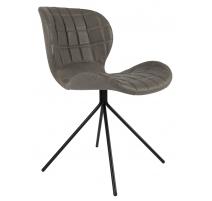 Chaise OMG LL en cuir gris