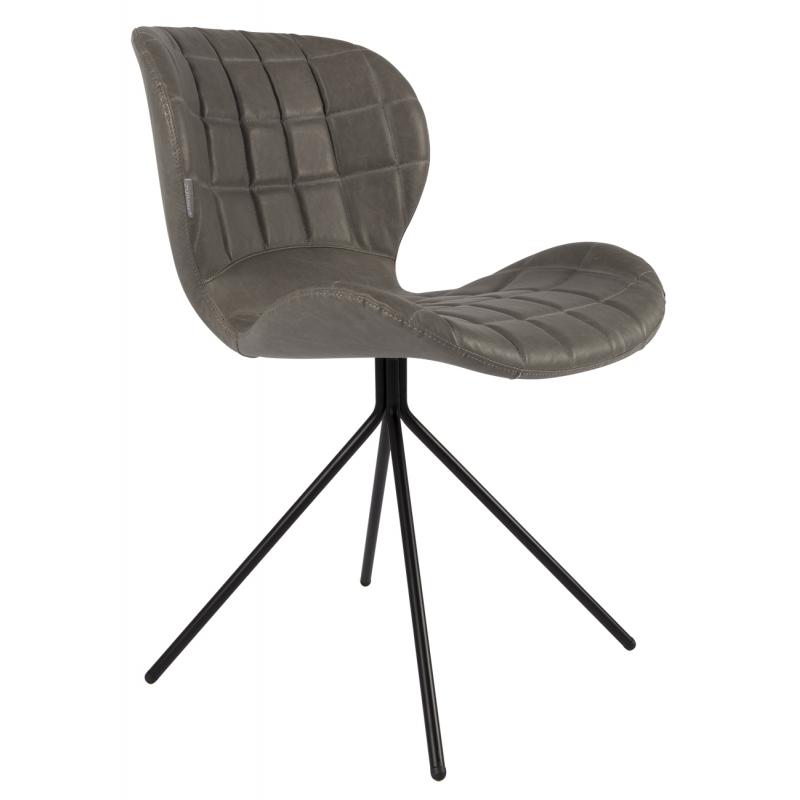 chaise omg ll en cuir gris sur moinat sa antiquit s d coration. Black Bedroom Furniture Sets. Home Design Ideas