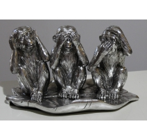 Sculpture 3 singes sages argenté sur une feuille