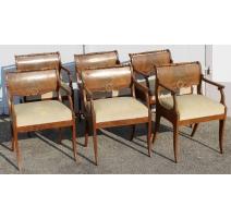 Suite de 6 fauteuils russes en acajou
