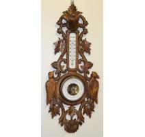 Baromètre-Thermomètre en bois sculpté de Brienz
