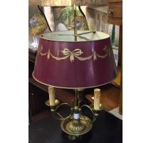 Lampe Bouillotte style Louis XVI abat-jour rouge