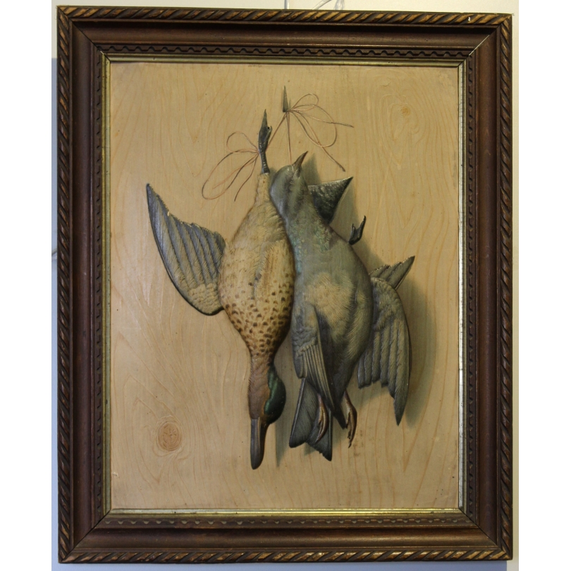 """Paire de lithographies """"Oiseaux"""" en relief"""