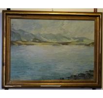 """Tableau """"Lac de Thoune"""" monogrammé KW 1932"""