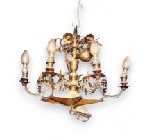 Lustre Hollandais en bronze à 7 bras de lumières.