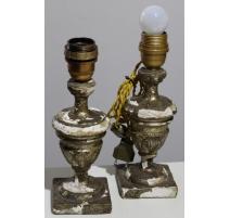 Paire de petites lampes en bois doré