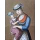 """Gouache """"Femme et enfant"""" monogrammée LML"""