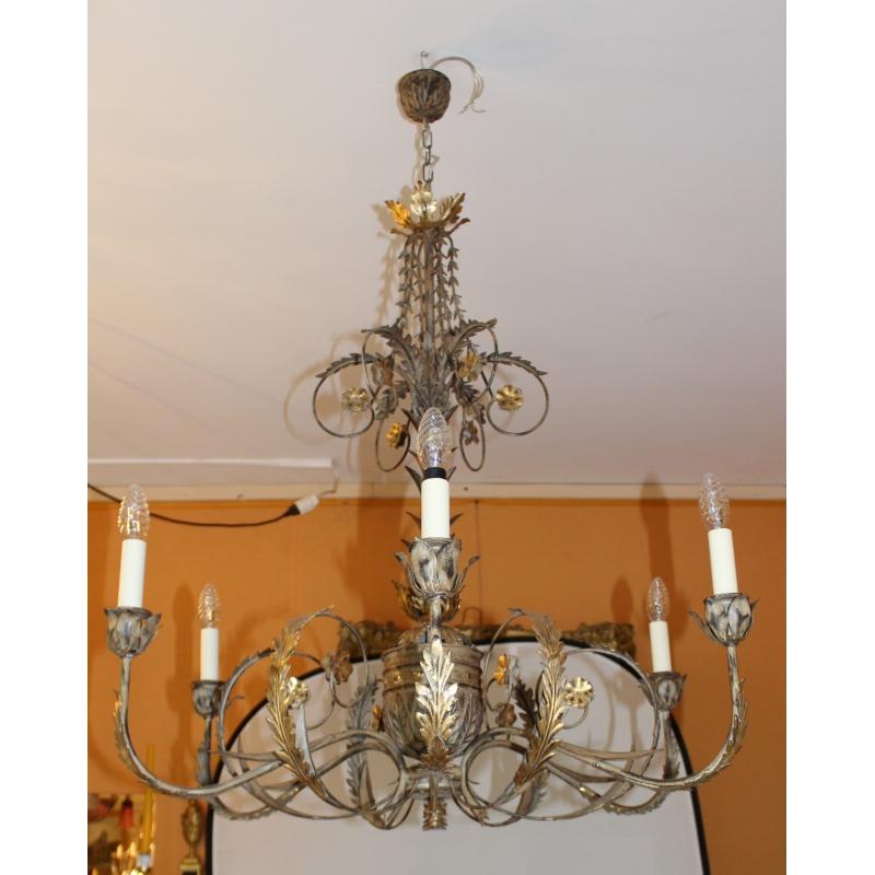 lustre en fer peint et dor 6 lumi res sur moinat sa antiquit s d coration. Black Bedroom Furniture Sets. Home Design Ideas