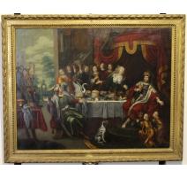 """Tableau """"Le banquet d'Esther"""" signé P. SION"""