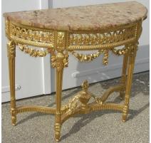 Console Louis XVI demi-lune dorée, dessus marbre