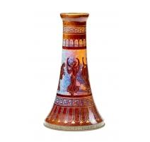 Vase trompette en verre irisé à décor à l'antique