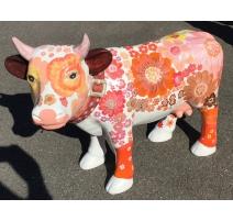 """Vache en résine décor """"Fleurs"""""""