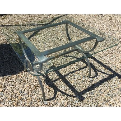 table bout de canap en fer et verre sur moinat sa antiquit s d coration. Black Bedroom Furniture Sets. Home Design Ideas