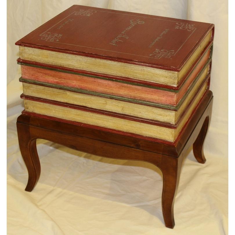 """Coffre en bois """"Faux livres"""" sur pied"""