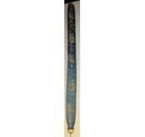 Tire-Sonnette en soie bleue décor oiseaux et fleur