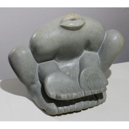Statue abstraite en pierre signée S. MACHEKA
