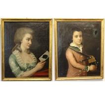 """Paire de portraits """"BURNAND"""", signés C. DELIN 1784"""