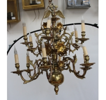 Lustre hollandais en bronze à 12 flammes