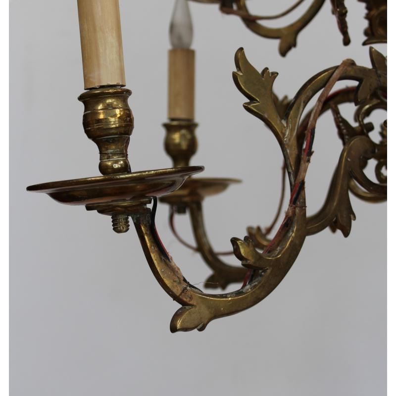 Lustre Hollandais En Bronze à 12 Flammes Sur Moinat Sa Antiquités
