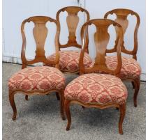 """Suite de 4 chaises bernoises """"Zungenstuhl"""""""