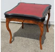 Table à jeux Régence carrée, plateau cuir rouge