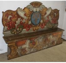 Banc d'église baroque à haut dossier