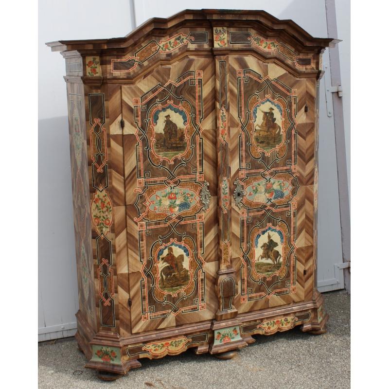 armoire peinte deux portes sur moinat sa antiquit s. Black Bedroom Furniture Sets. Home Design Ideas