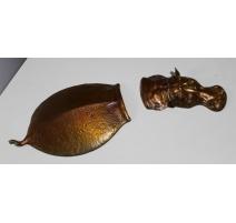 Hippopotame submergé en bronze patine brune