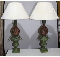 Paire de lampes Ananas en tôle peinte