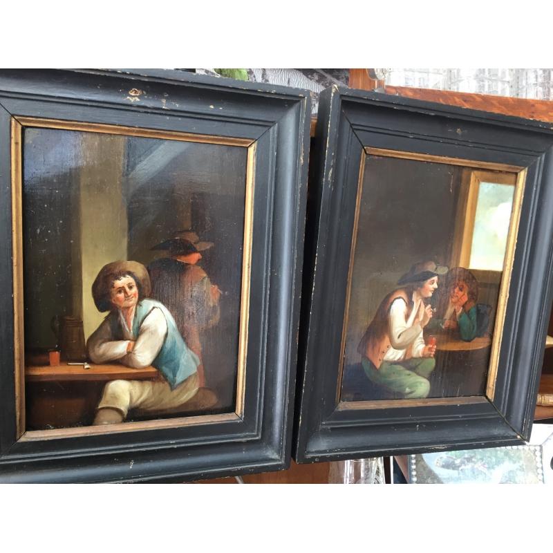 peintures paire de tableaux sc nes d 39 int rieur moinat sa antiquit s d coration. Black Bedroom Furniture Sets. Home Design Ideas