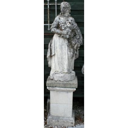 """Sculpture """"Femme aux fruits"""" en pierre de Vicenza"""
