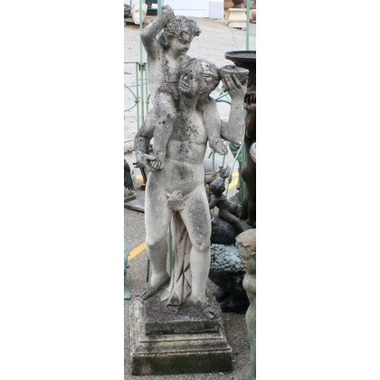 """Sculpture """"Femme et enfant"""" en pierre"""