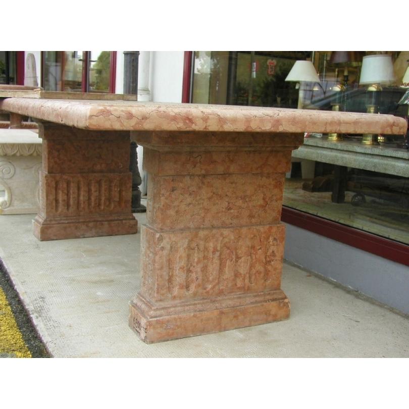 Table rectangulaire en marbre rose
