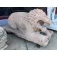 Paire de Lions en marbre rose sculpté