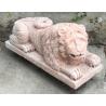 Paire de Lions en marbre rose de Verona